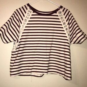 Old Navy, Burgundy & cream striped shirt